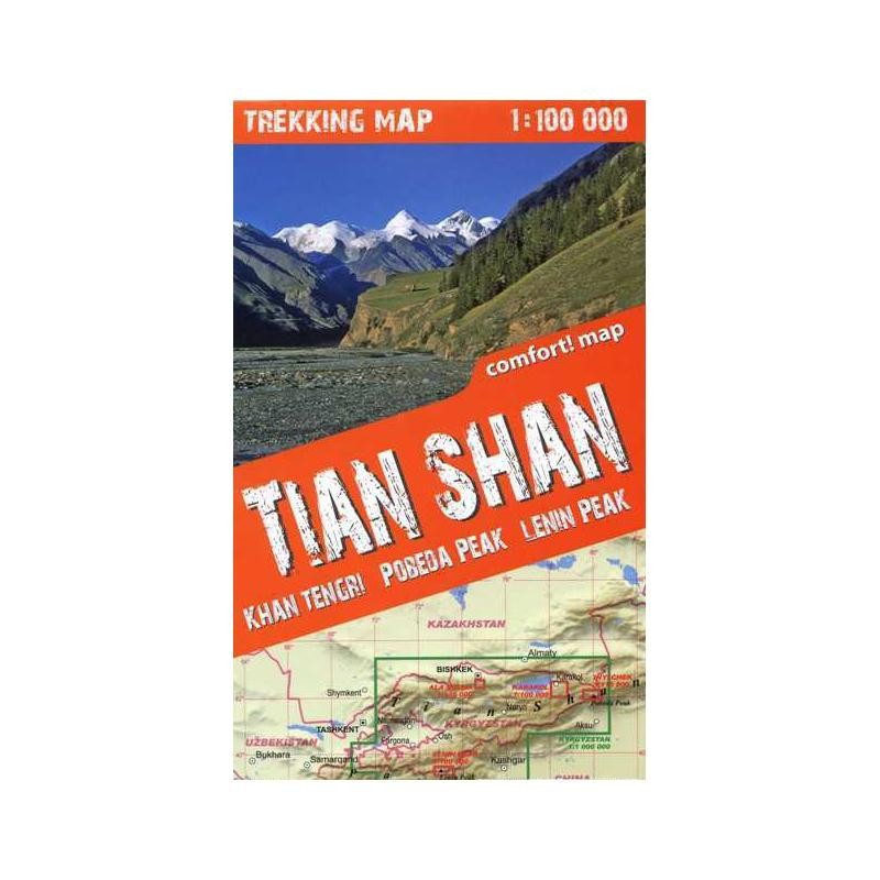 Tian Shan Trekking Map: Khan Tengri Pobeda Peak & Lenin Peak by terraQuest