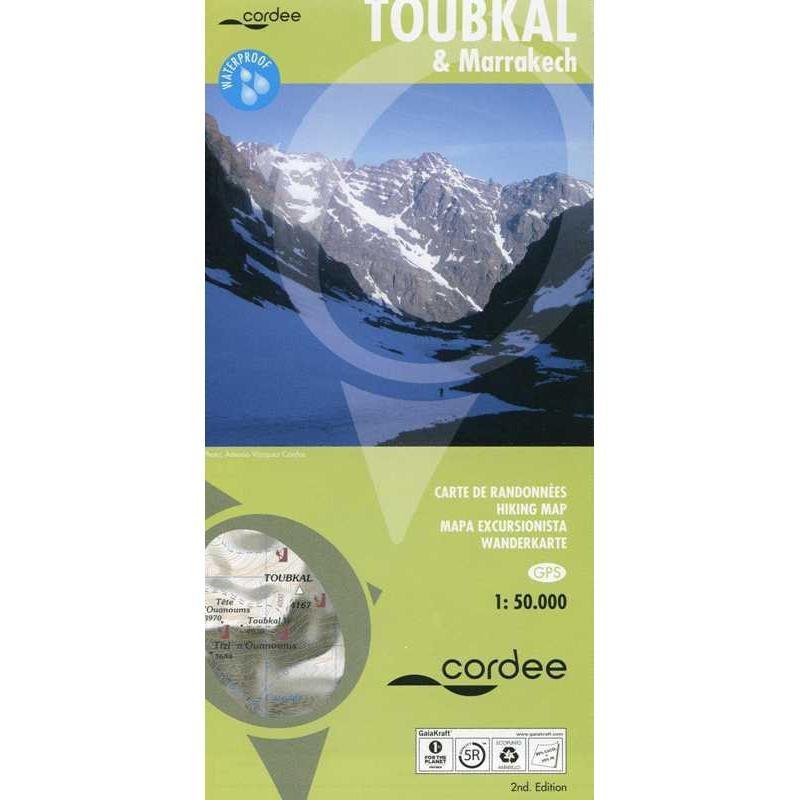 Toubkal & Marrakech Hiking Map by Cordee