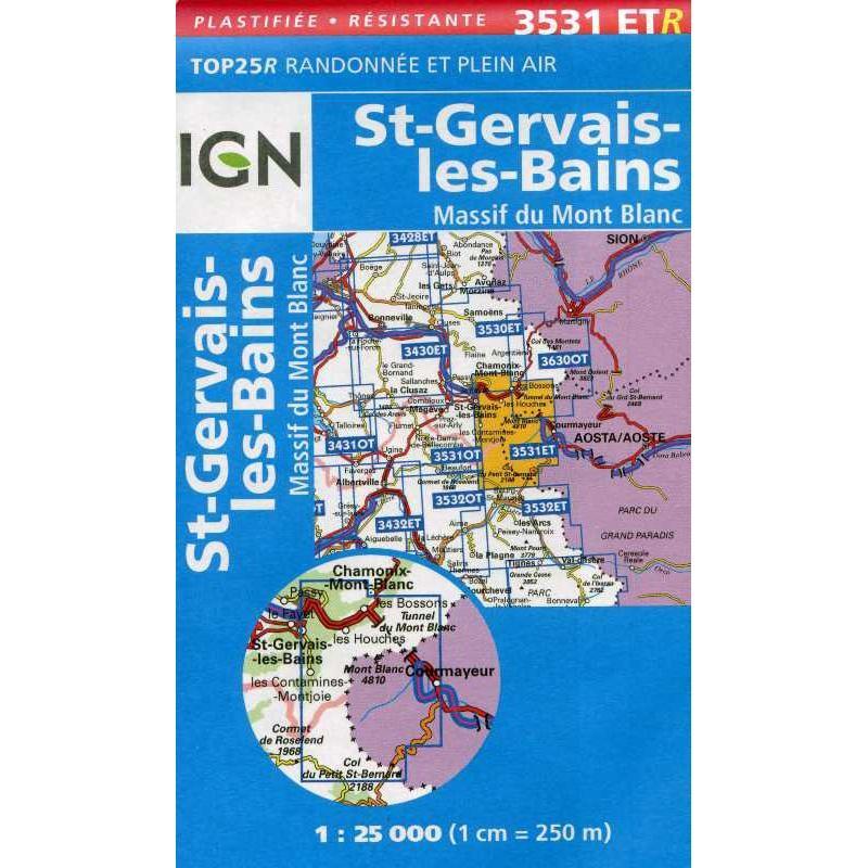 St Gervais-les-Bains: Massif du Mont Blanc 3531ETR by IGN