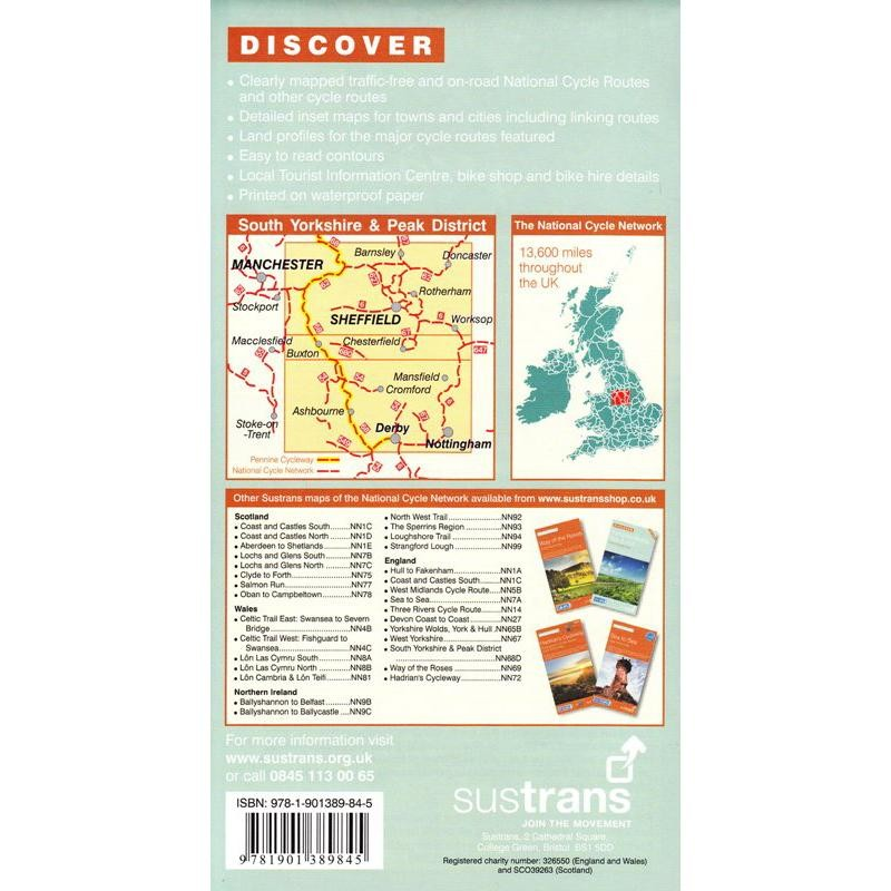 South Yorkshire & Peak District Cycle Routes Map by Sustrans