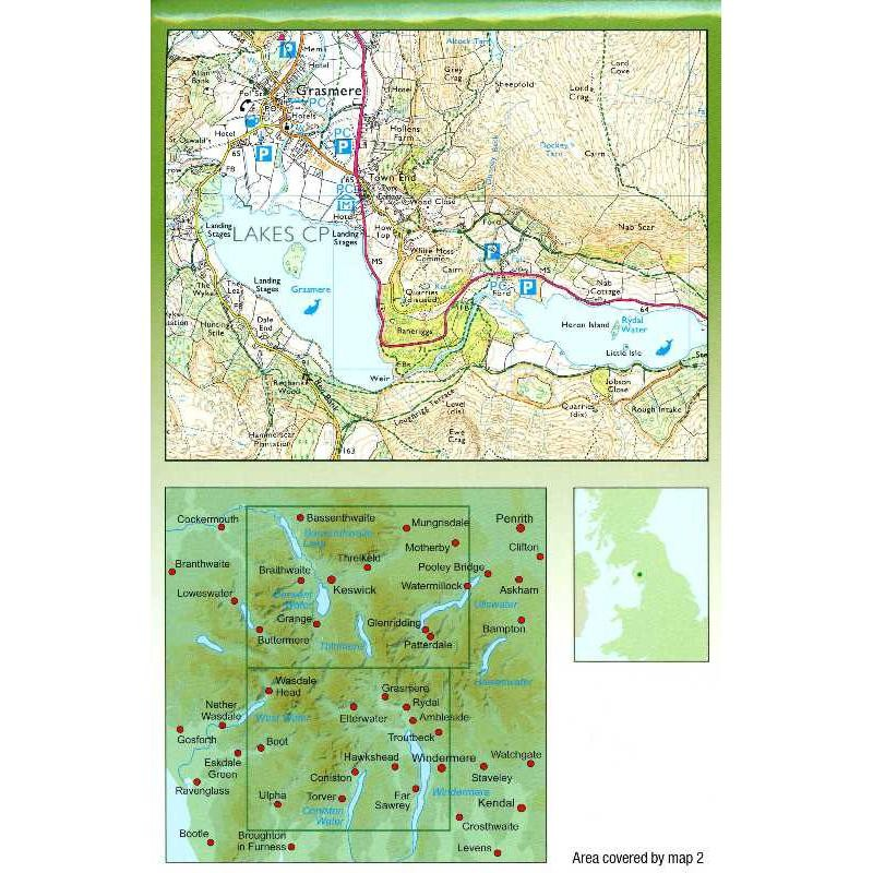 AA2 Central Lake District Walkers Map by AA