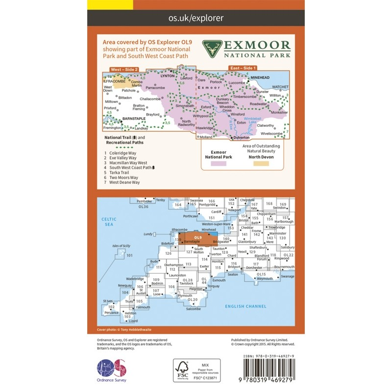 OL9 Exmoor: ACTIVE: Barnstaple Lynton Minehead & Dulverton by Ordnance Survey