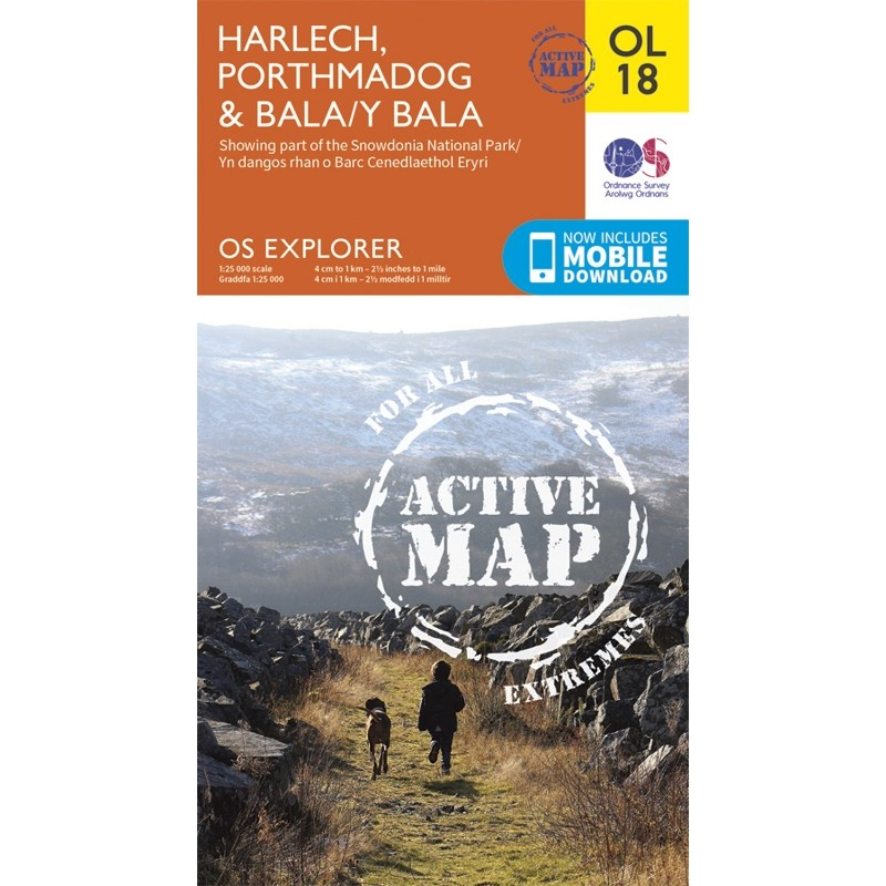 OL18 Harlech Porthmadog & Bala ACTIVE by Ordnance Survey