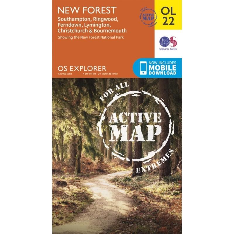 OL22 New Forest: ACTIVE: Southampton Ringwood Ferndown Lymington Christchurch & Bournemouth by Ordnance Survey