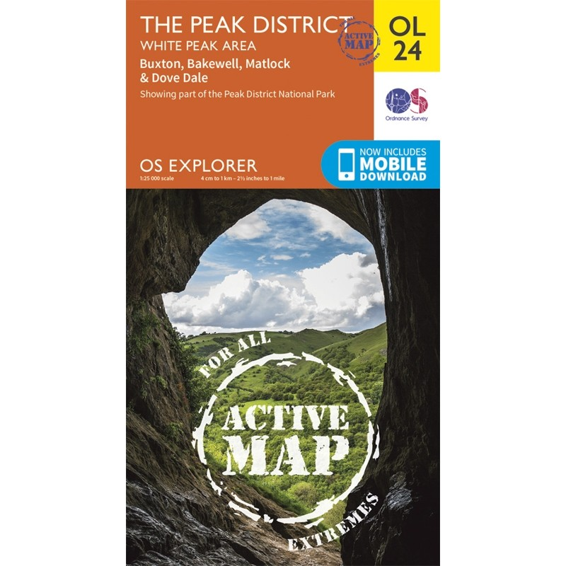 OL24 The Peak District White Peak area ACTIVE Buxton Bakewell Matlock & Dove Dale by Ordnance Survey
