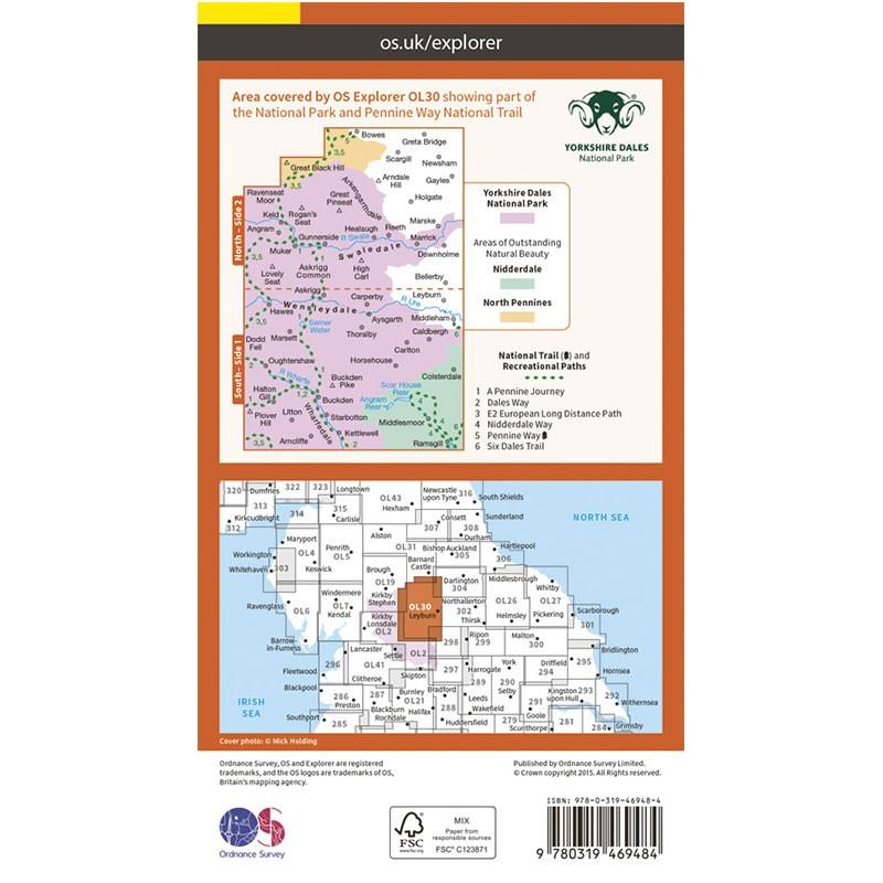 OL30 Yorkshire Dales: Northern & Central Area ACTIVE: Wensleydale & Swaledale by Ordnance Survey