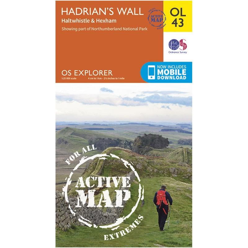 OL43 Hadrians Wall ACTIVE Haltwhistle & Hexham by Ordnance Survey