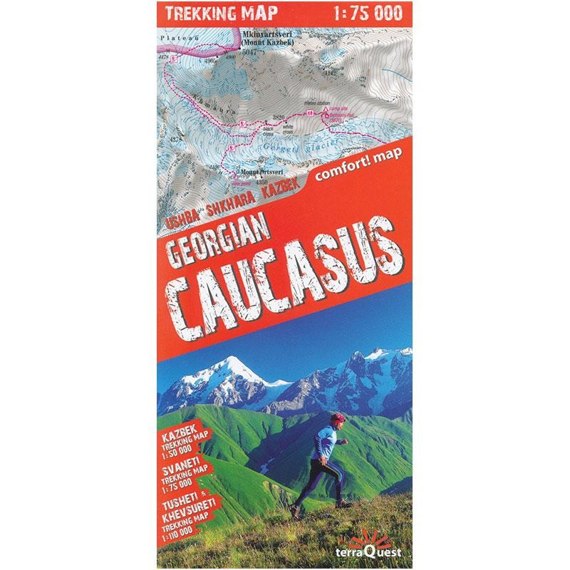 A trekking map to the Geogian Caucasus mountains