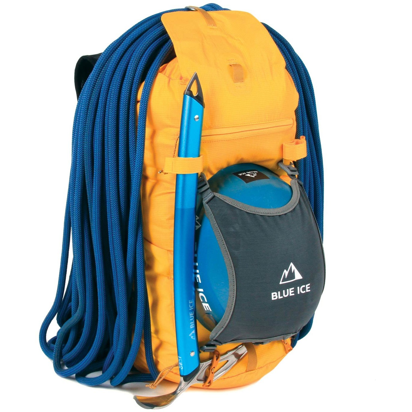 Blue Ice Dragonfly 25L Rucksack - Spectra Yellow - helmet holder rope ice axe