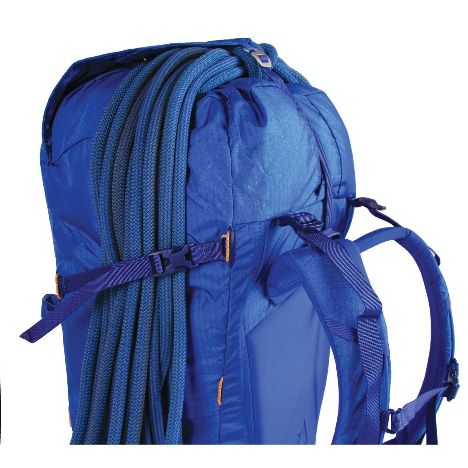 Blue Ice Warthog 45L Rucksack - Turkish Blue - rope holder side