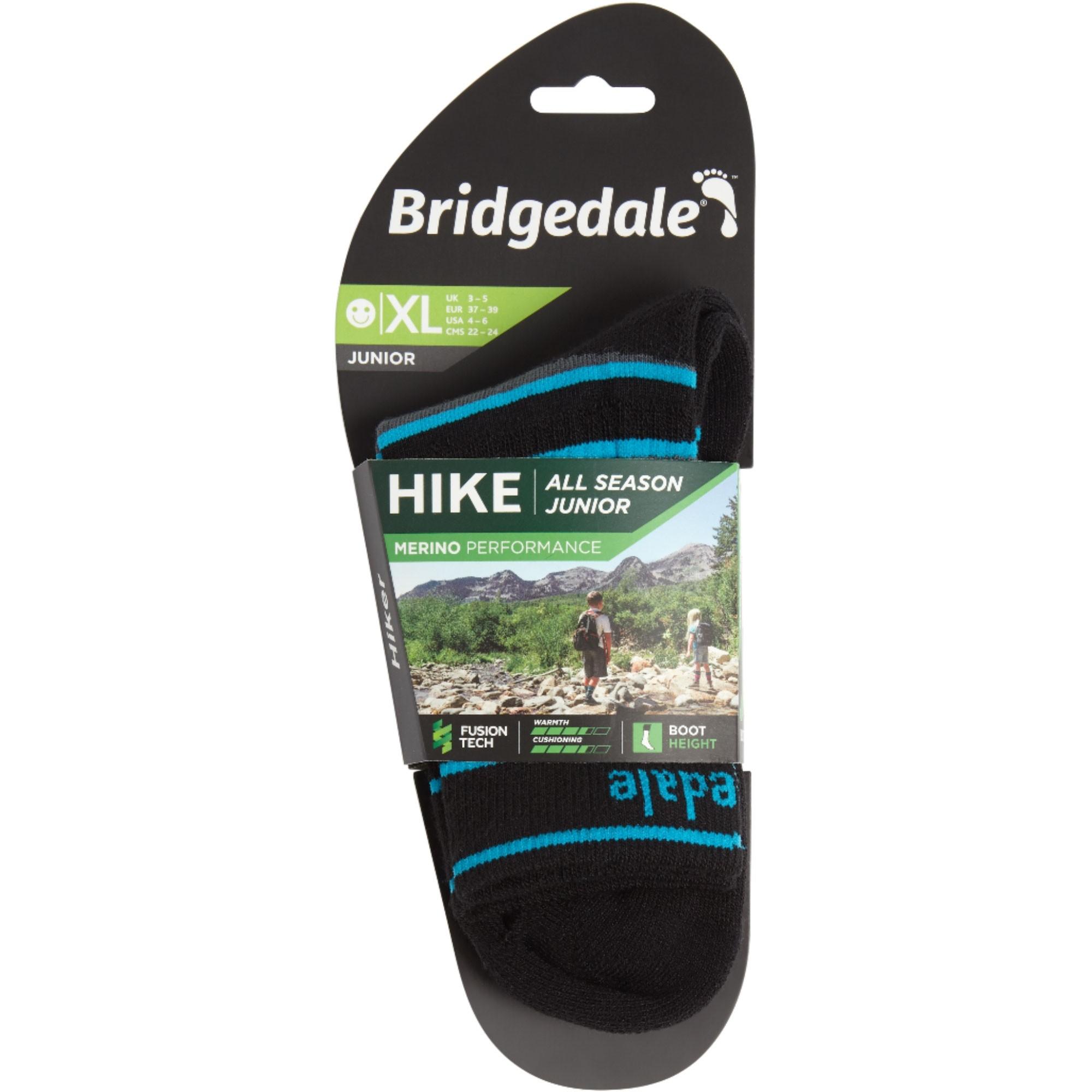 Bridgedale HIKE Junior All Season Merino Performance Socks  - Black/Grey