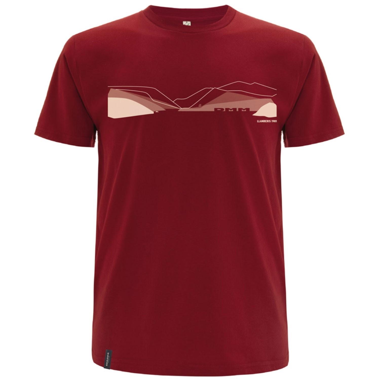 DMM Pass Organic Cotton Men's T-Shirt - Dark Red/White