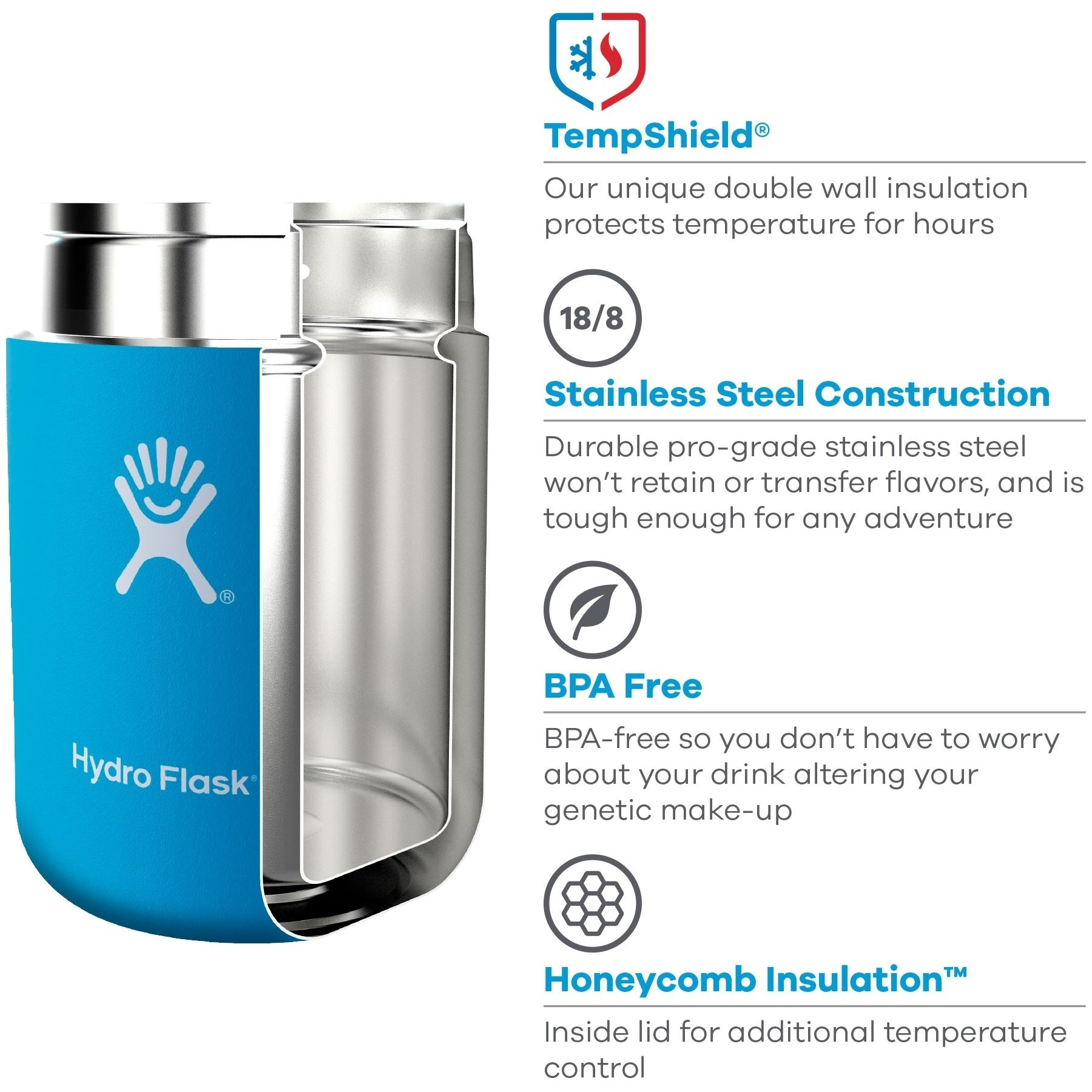 Hydro Flask 18oz Insulated Food Flask - features