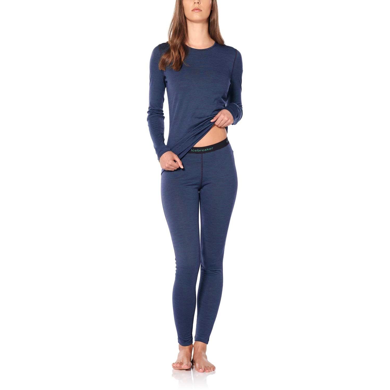 200 Oasis Long Sleeve Crewe Merino Baselayer - Women's - Stripe Lotus