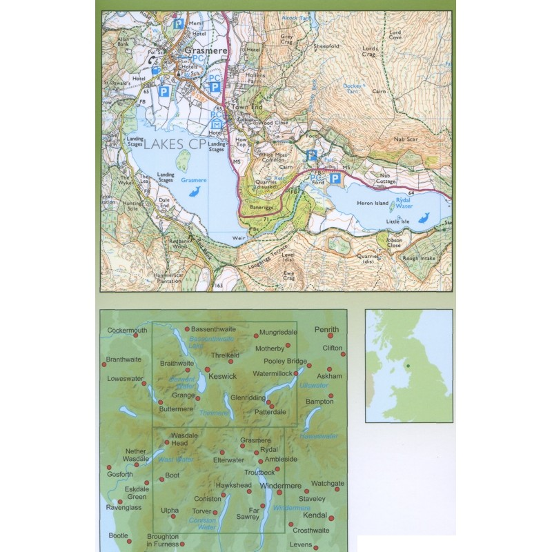 AA2 Central Lake District LAMINATED by AA