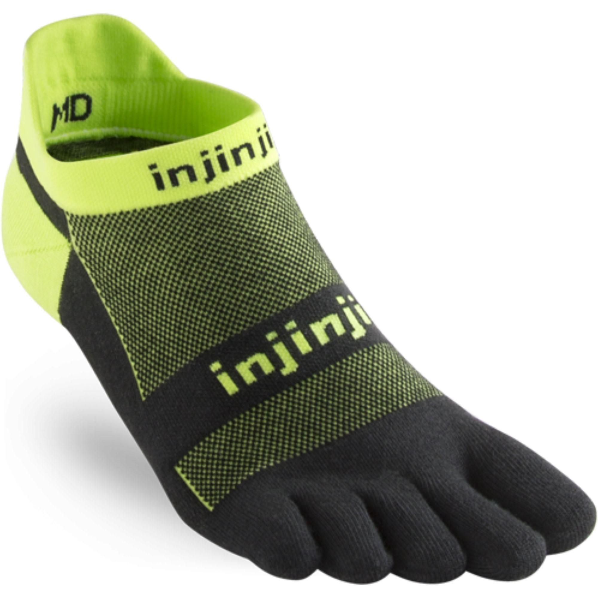 INJINJI Run Light Weight No Show Toe Socks - Grasshopper