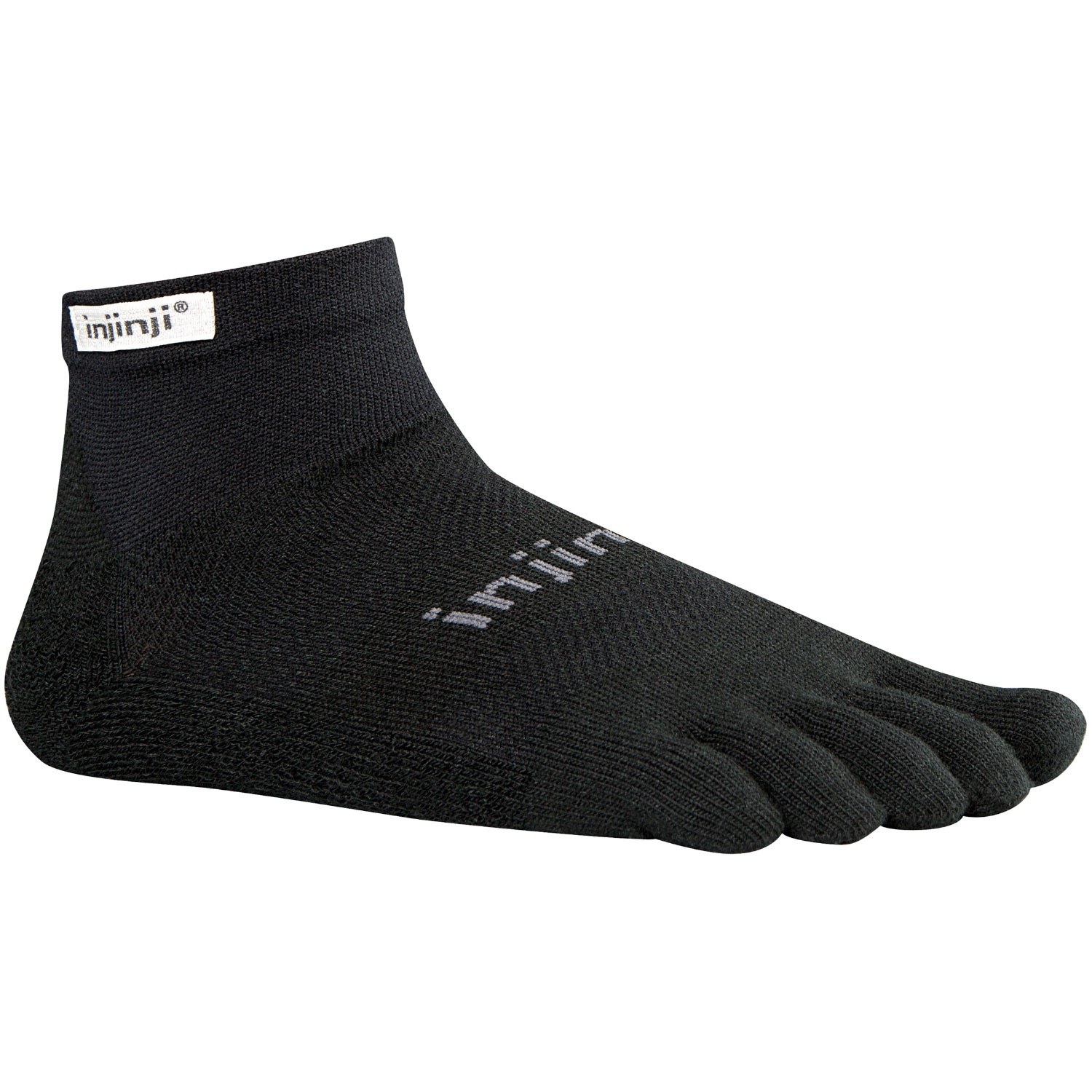 Injinji Run Lightweight Mini Crew Toe Socks - Black