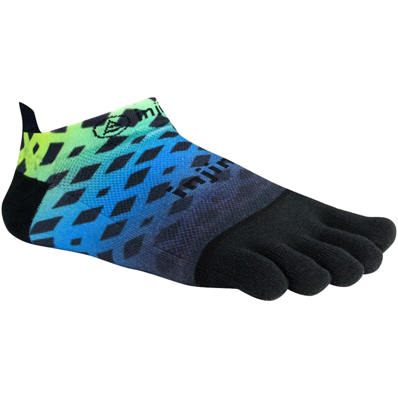INJINJI Run Light Weight No Show Toe Socks - Abstract Lime Blue