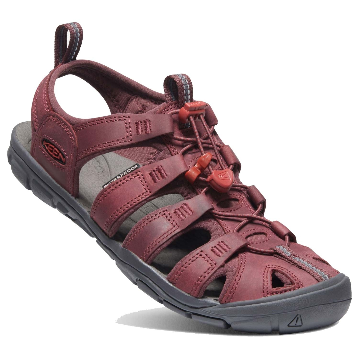 Keen Clearwater CNX Leather Sandal - Women's - Wine/Red Dahlia