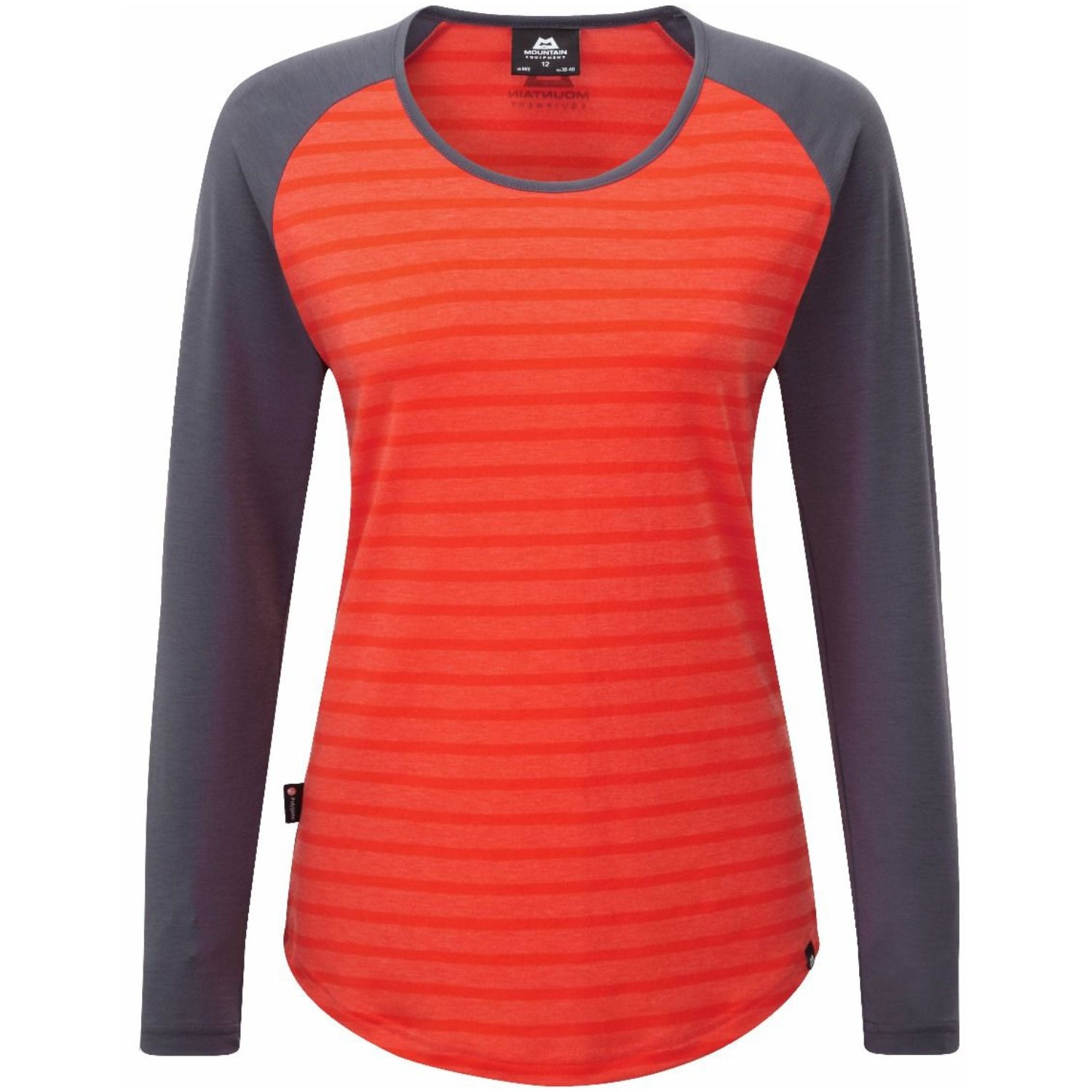 Mountain Equipment Women's Redline LS Tee - Cardinal Orange/Welsh Slate