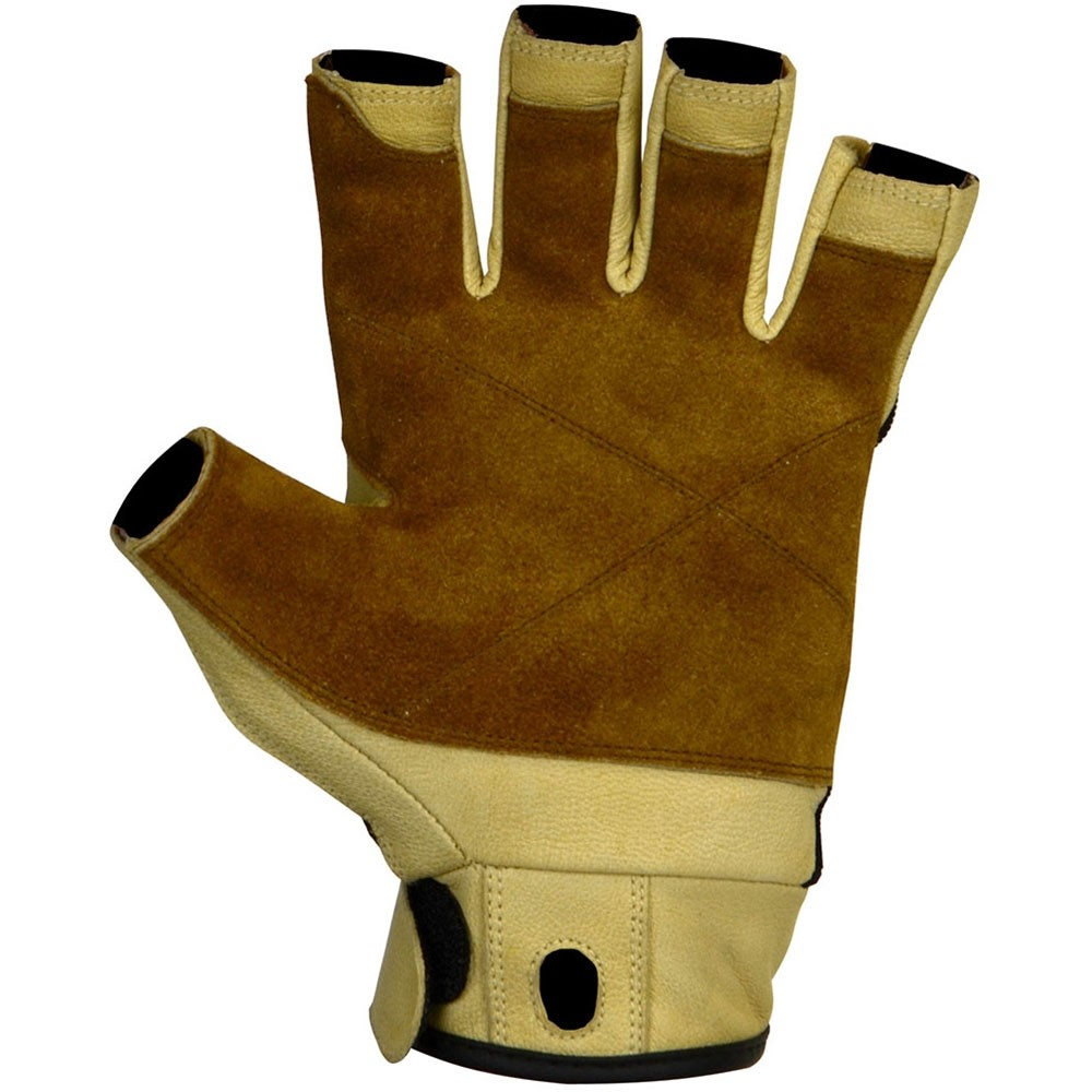 Metolius-Grip Glove 3/4 Finger Gloves - Natural/Black - Palm