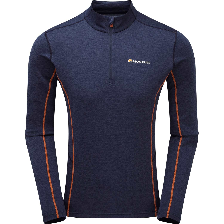 Montane Dart Zip-Neck T-shirt - Men's - Antarctic Blue/Burnt Orange