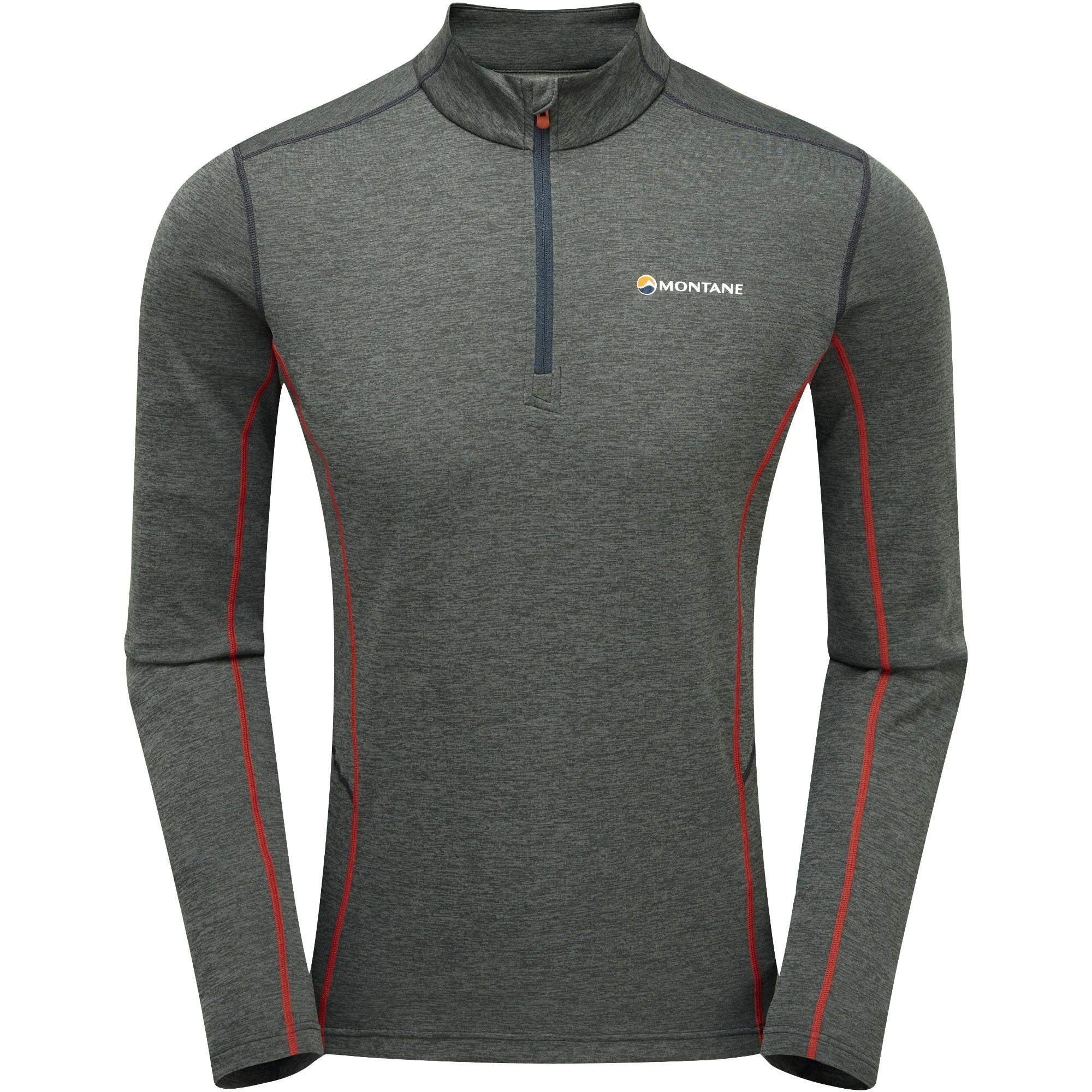 Montane Dart Men's Zip-Neck T-shirt - Shadow/Alpine Red