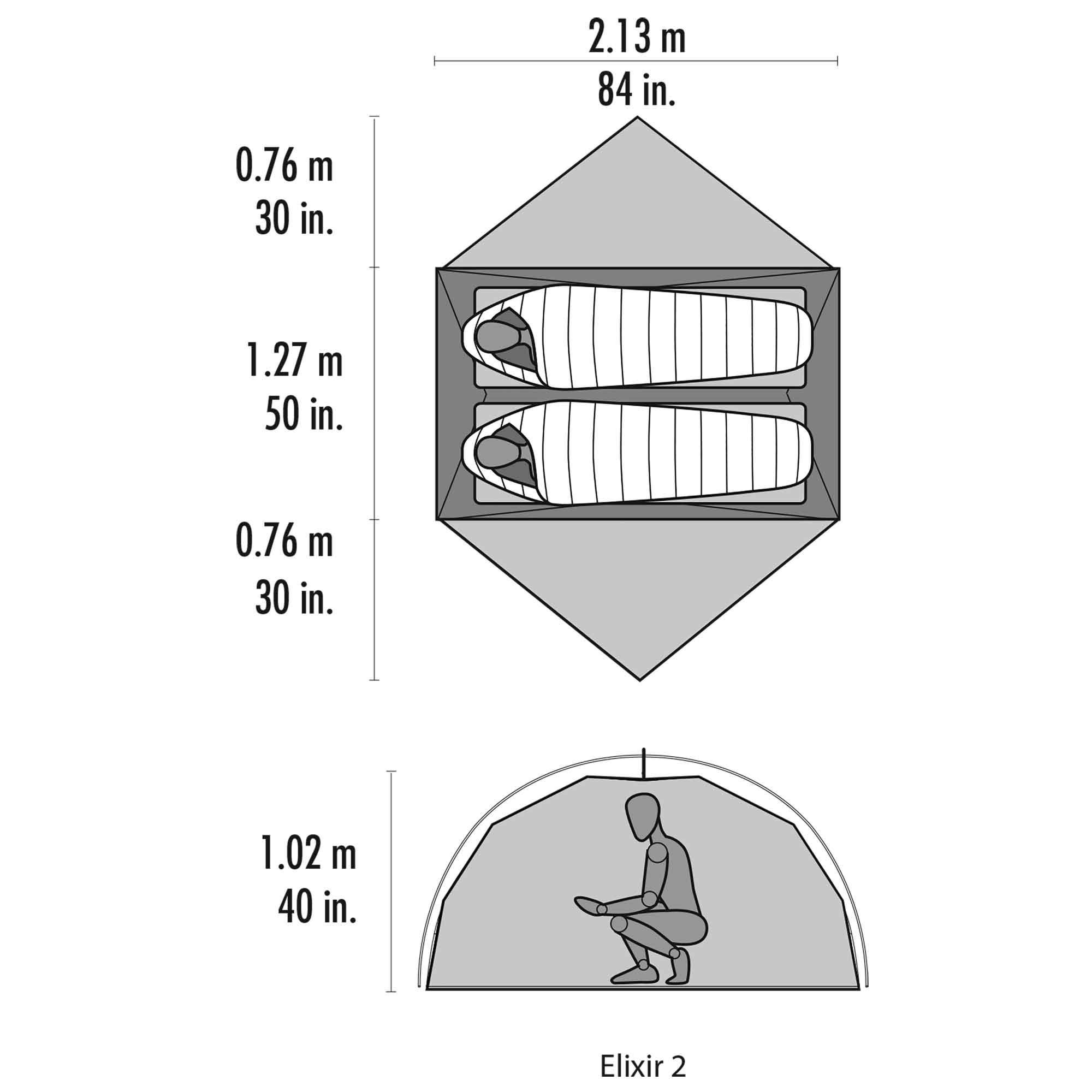 MSR Elixir 2 Tent - Floor Plan