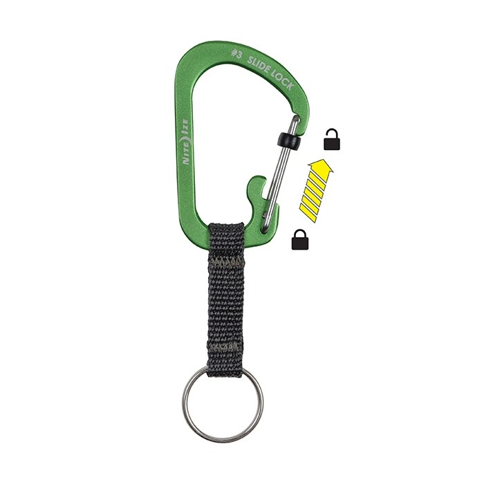 SlideLock Key Ring Aluminium - Lime