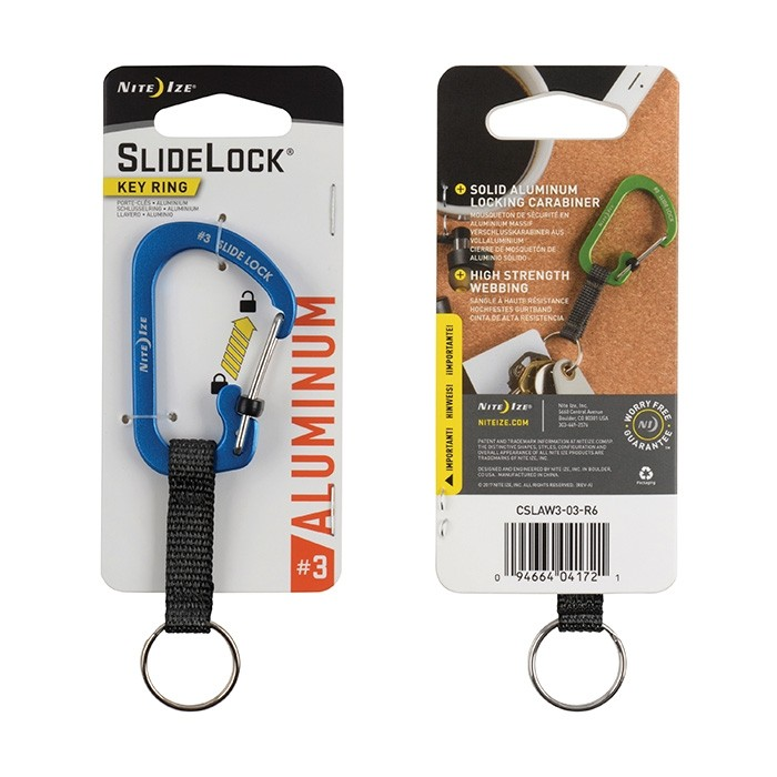 SlideLock Key Ring Aluminium - Blue