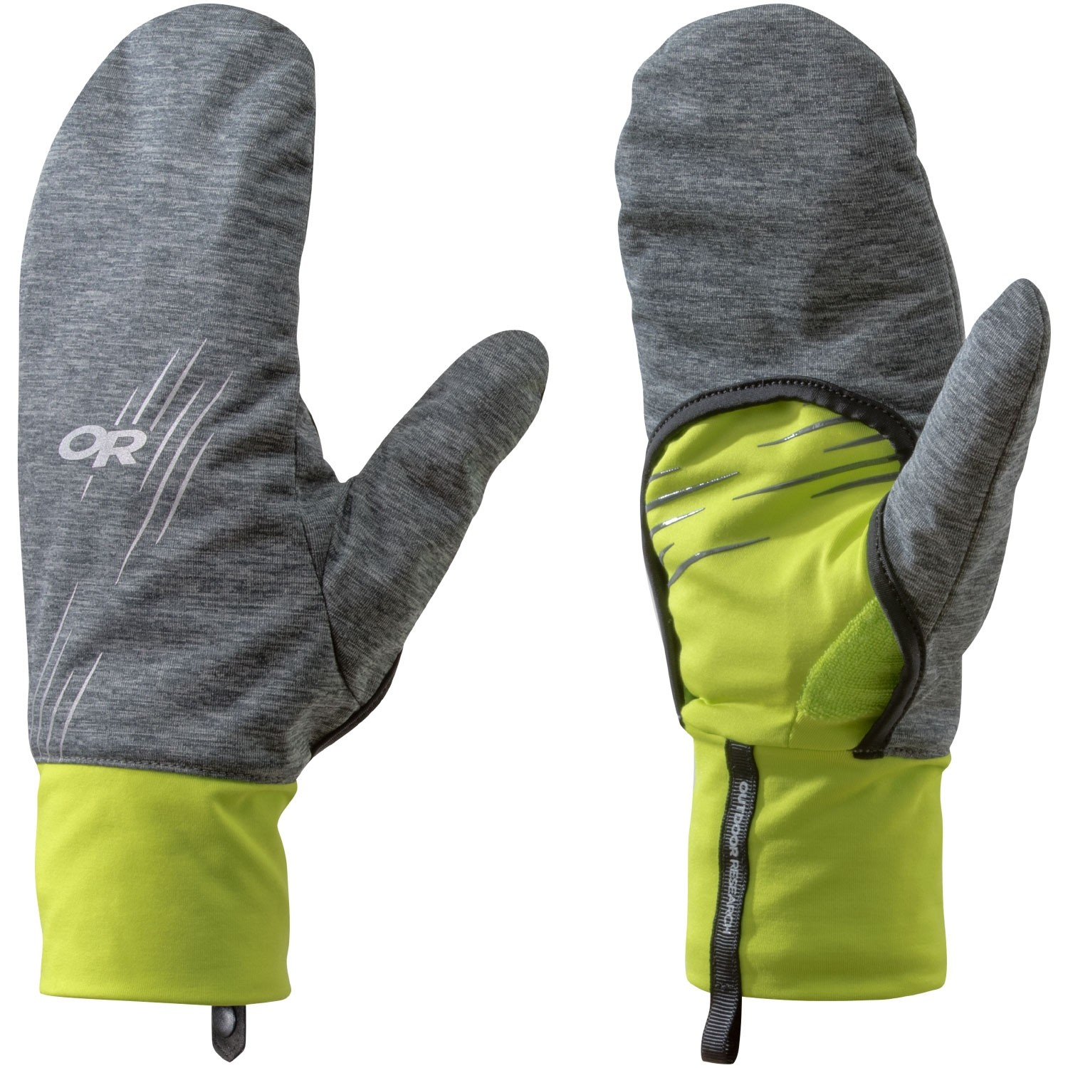 Outdoor Research Overdrive Convertible Gloves - Charcoal Heather/Lemongrass