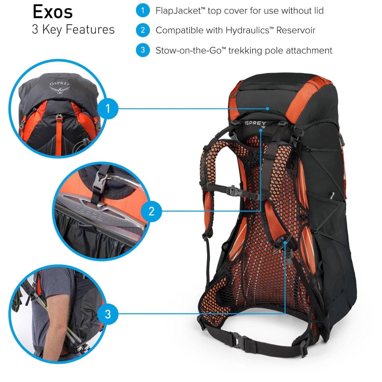 Osprey Exos 48 Trekking Rucksack - Blaze Black - features