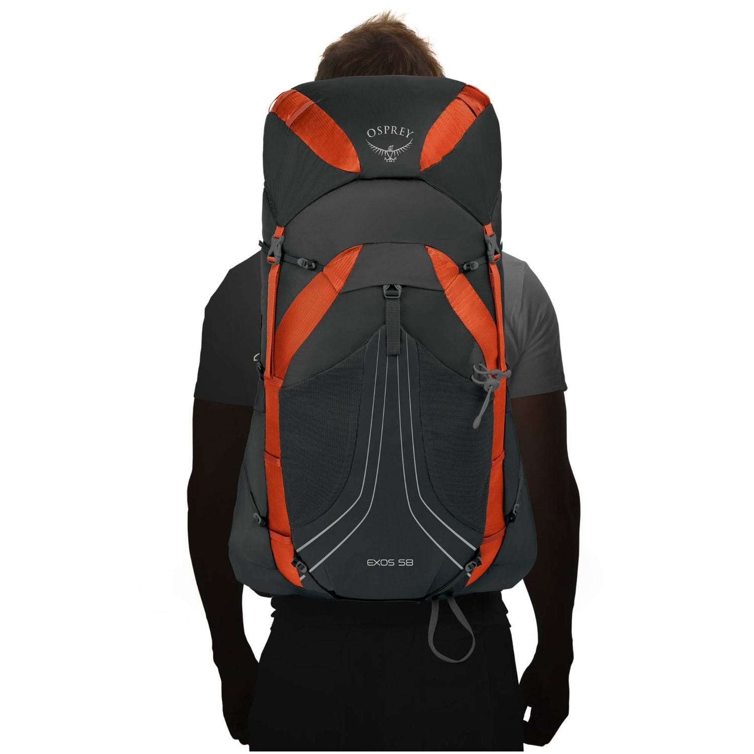 Osprey Exos 48 Trekking Rucksack - Blaze Black - on the body