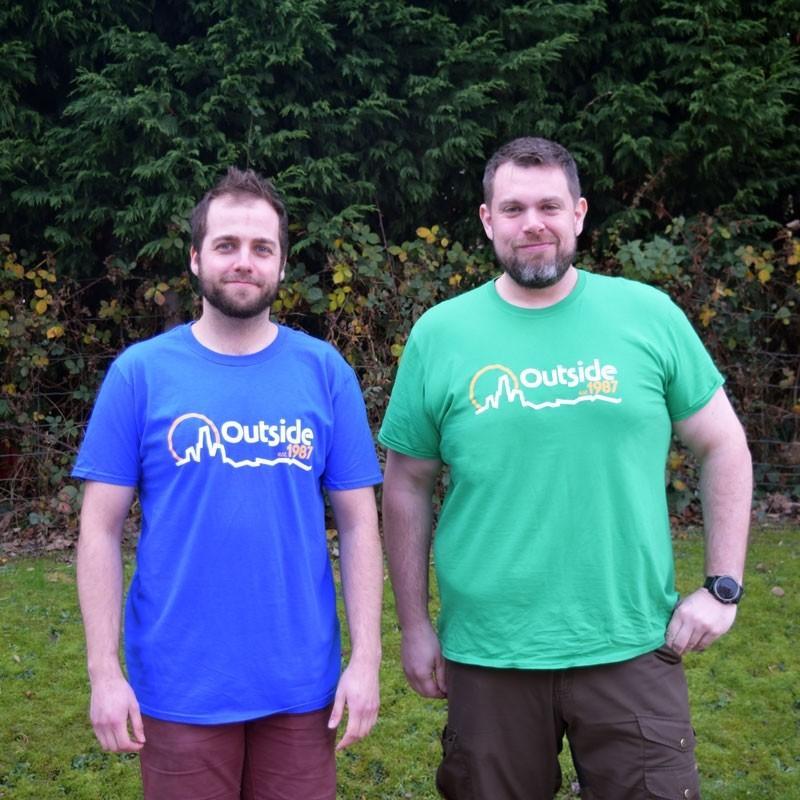 Outside 1987 Retro Logo Men's T-shirt - Royal Blue/Green