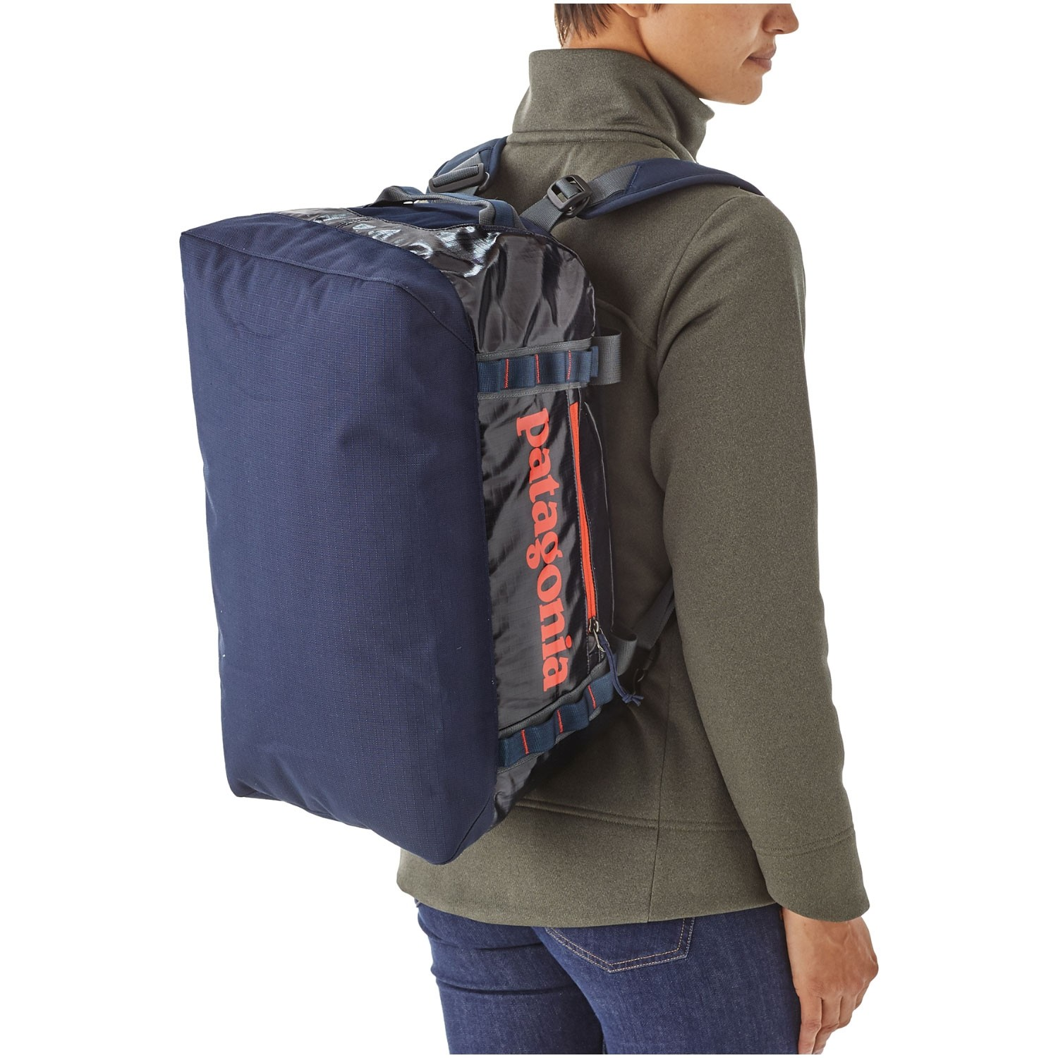 Patagonia-Black-Hole-Duffel-45L-Navy-Blue-w-Paintbrush-Red backpack