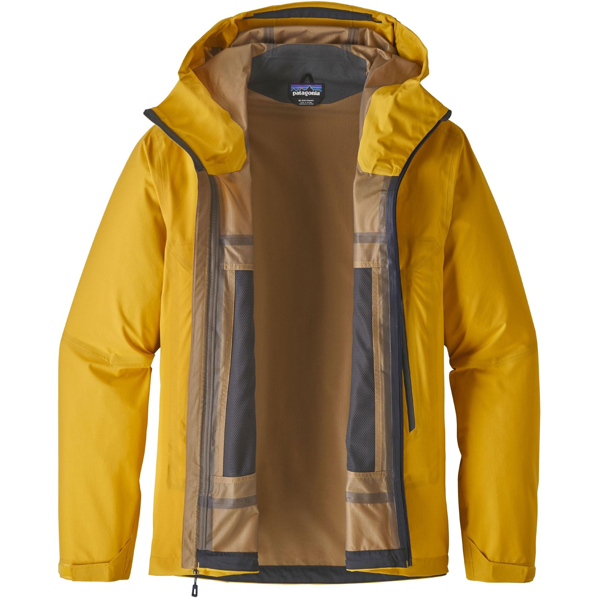 Patagonia Cloud Ridge Waterproof Jacket Rugby Yellow Open