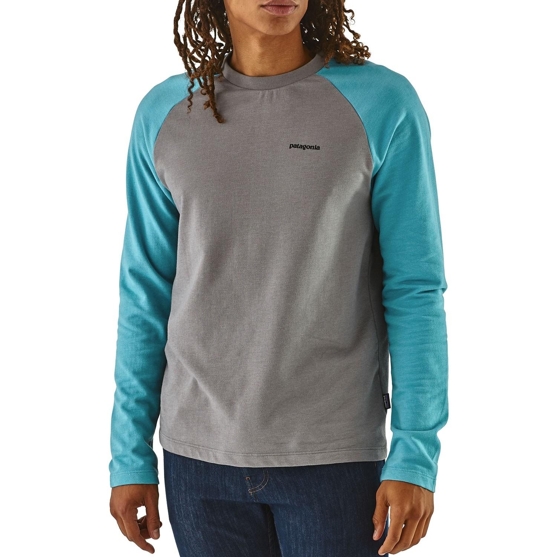 Patagonia P-6 Logo Lightweight Crew Sweatshirt - Feather Grey/Mako Blue