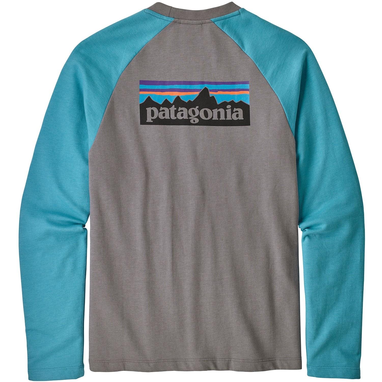 Patagonia P-6 Logo Lightweight Crew Sweatshirt - Feather Grey/Mako Blue - Back