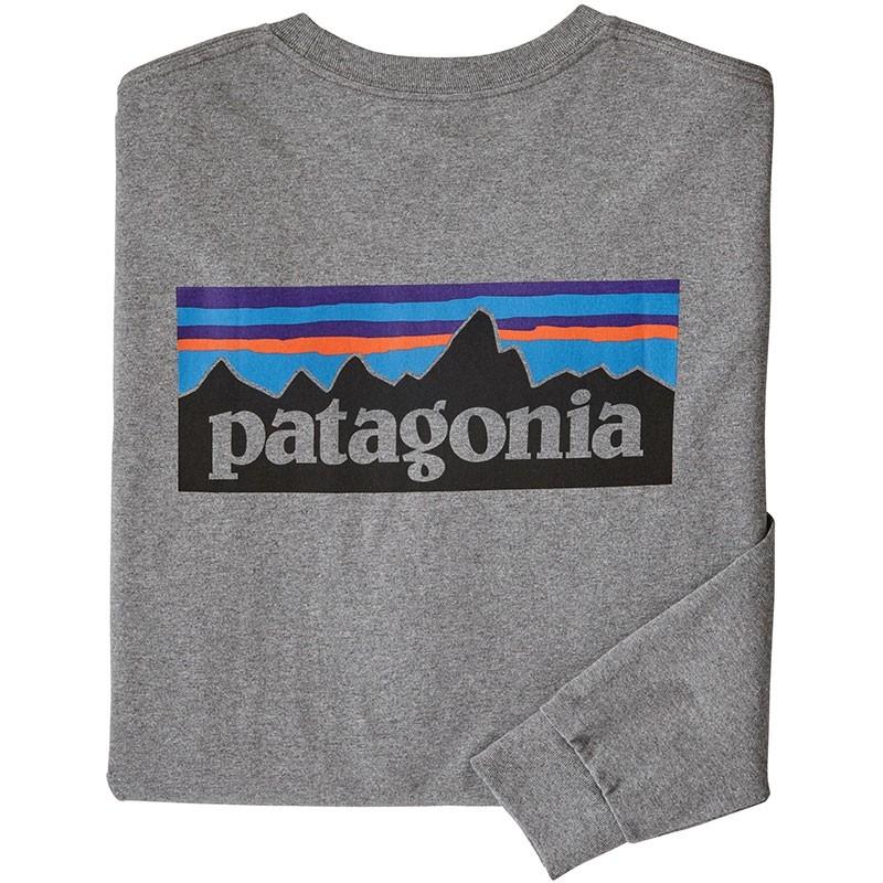 Patagonia P-6 Logo LS Responsibili-Tee - Gravel Heather