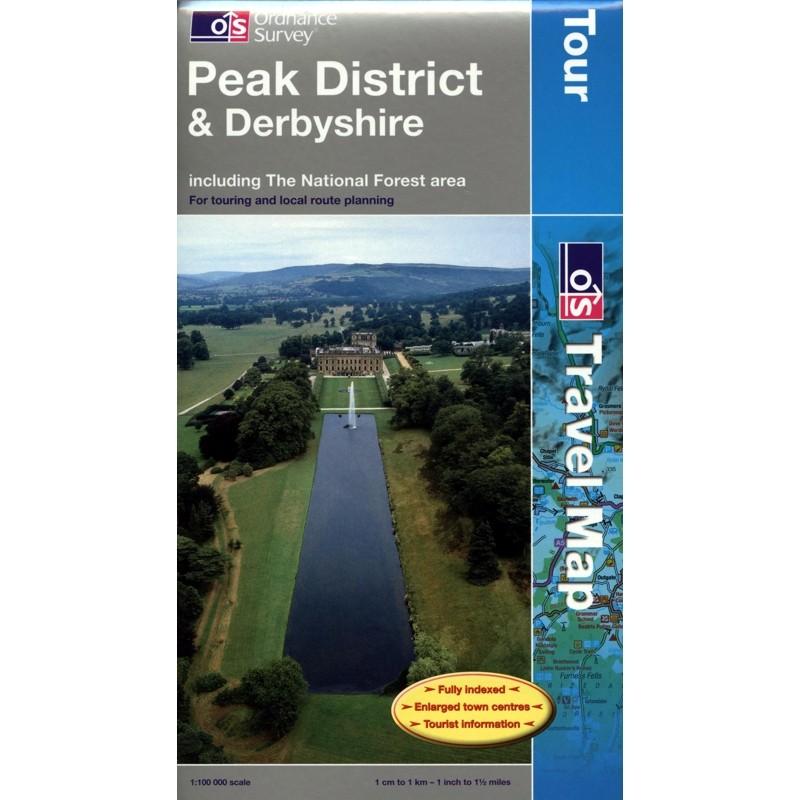 Peak District & Derbyshire Travel Map by Ordnance Survey