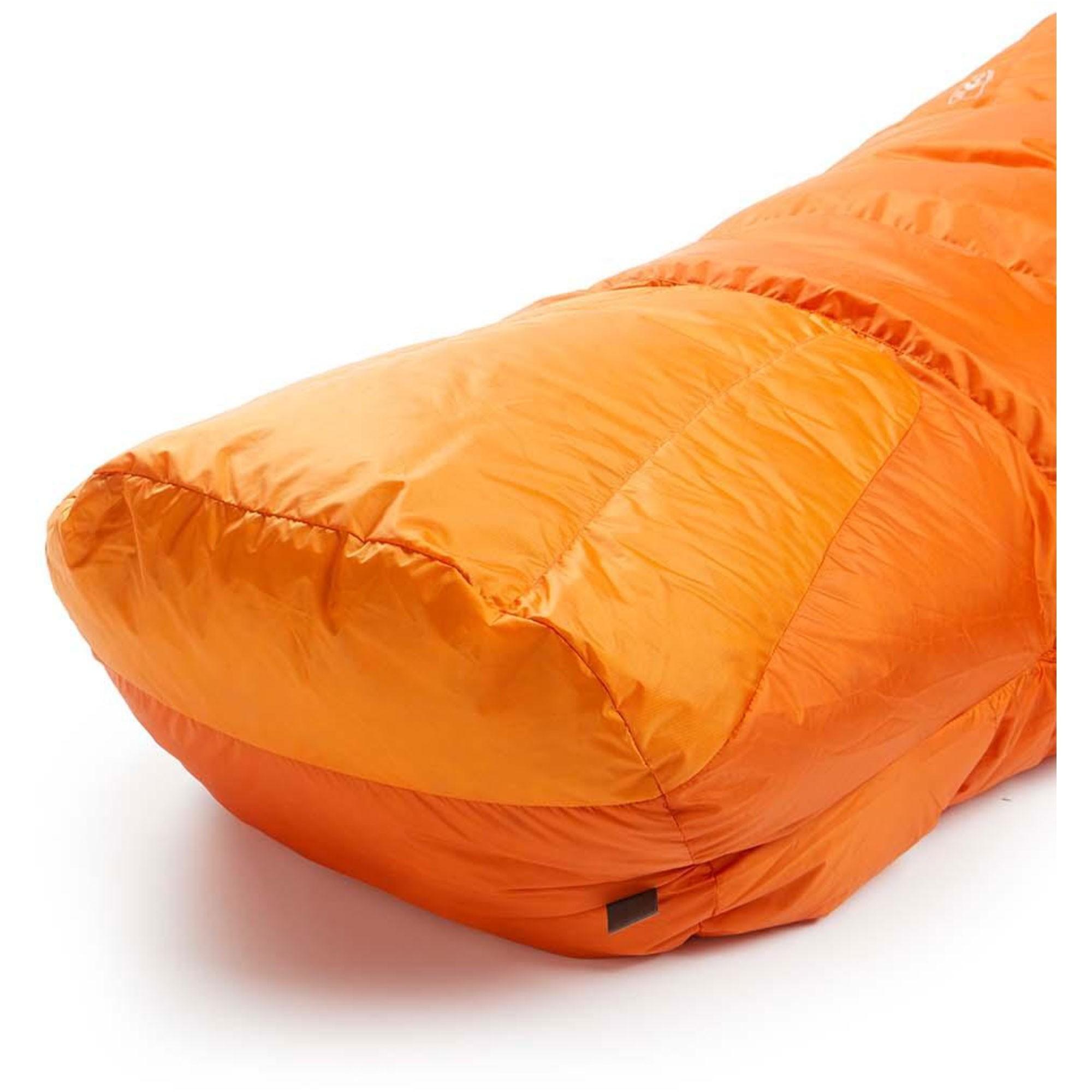 Rab Andes1000 Down Sleeping Bag Standard Length Left Zip - Satsuma - foot box