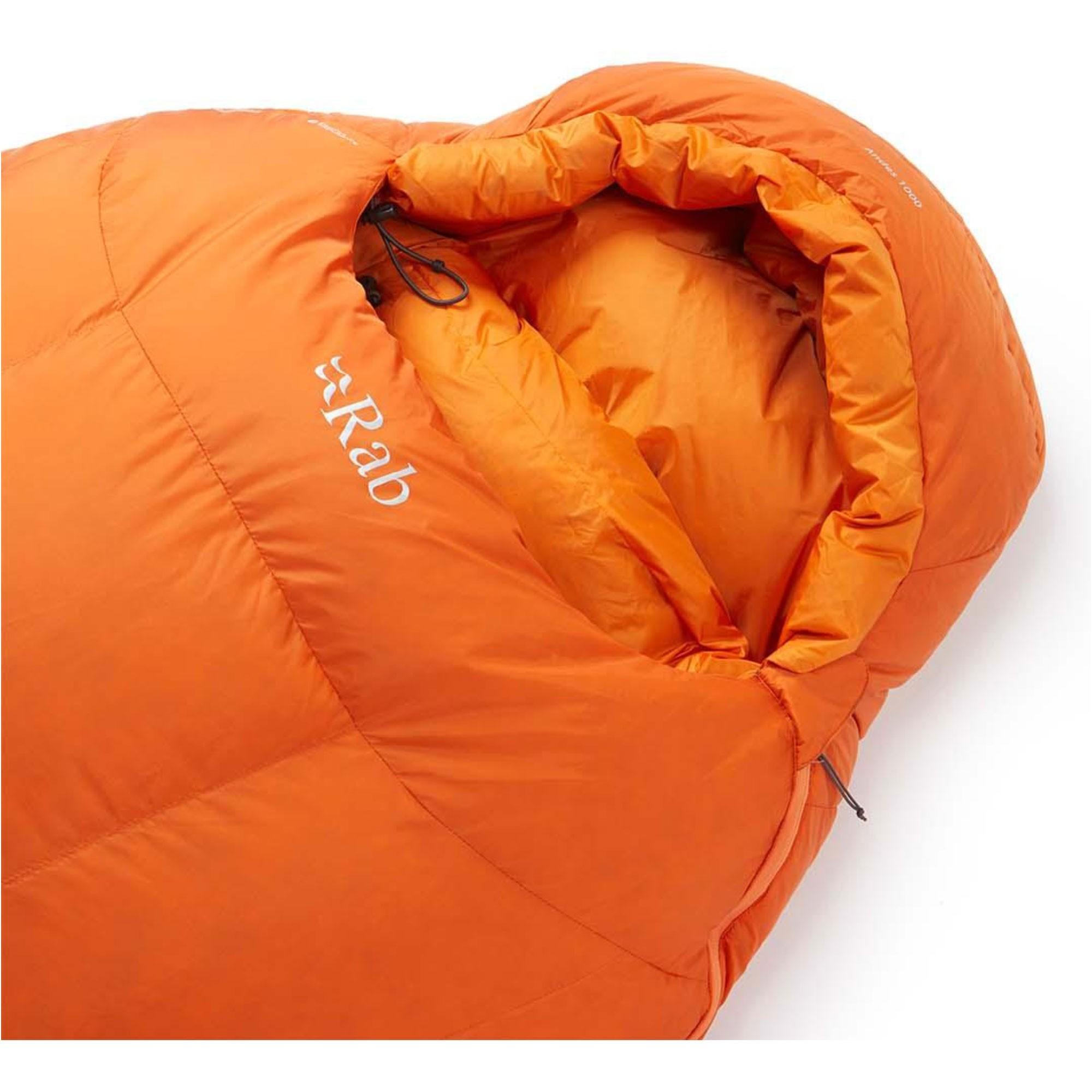 Rab Andes1000 Down Sleeping Bag Standard Length Left Zip - Satsuma - hood