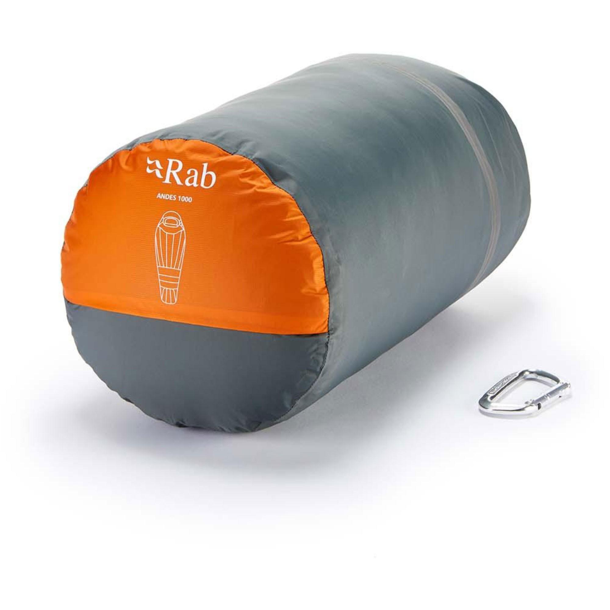 Rab Andes1000 Down Sleeping Bag Standard Length Left Zip - Satsuma - packed