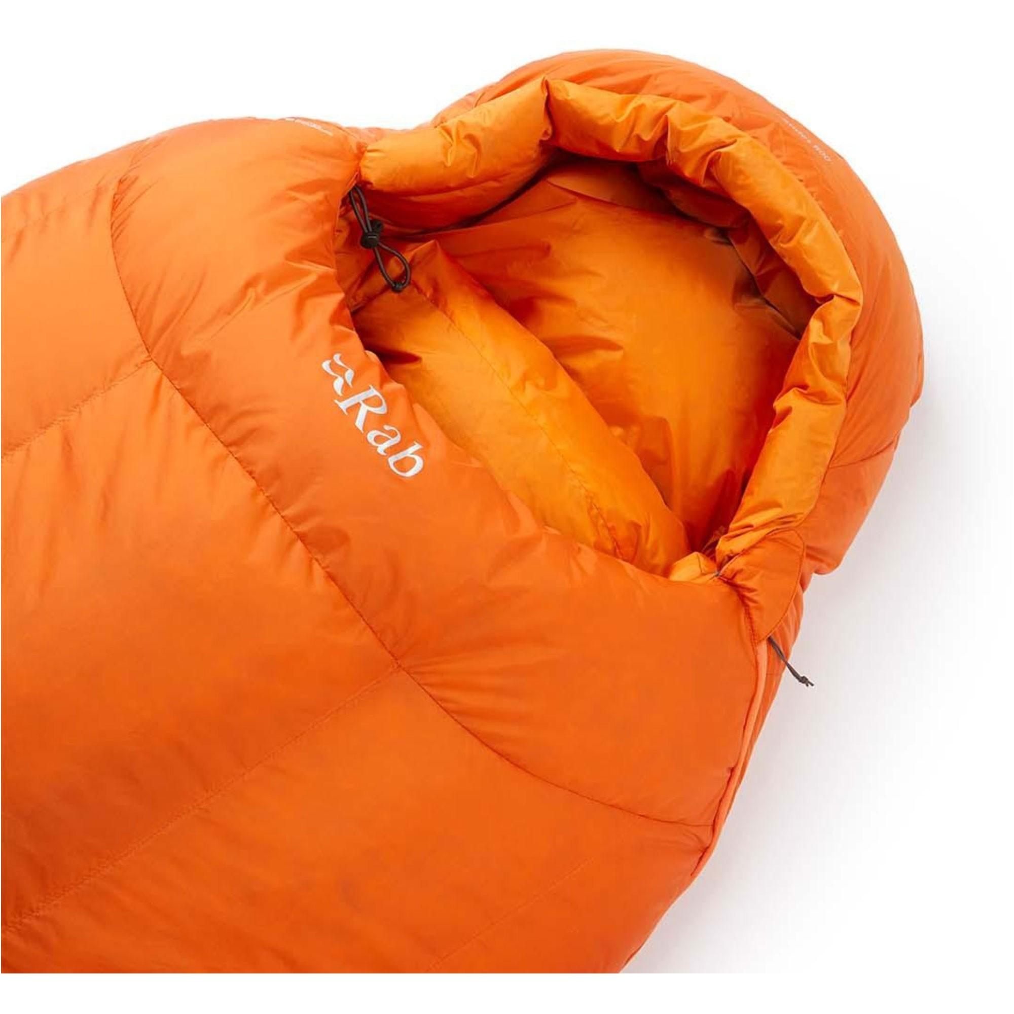 Rab Andes 800 Down Sleeping Bag Left Zip Regular - Satsuma - Hood