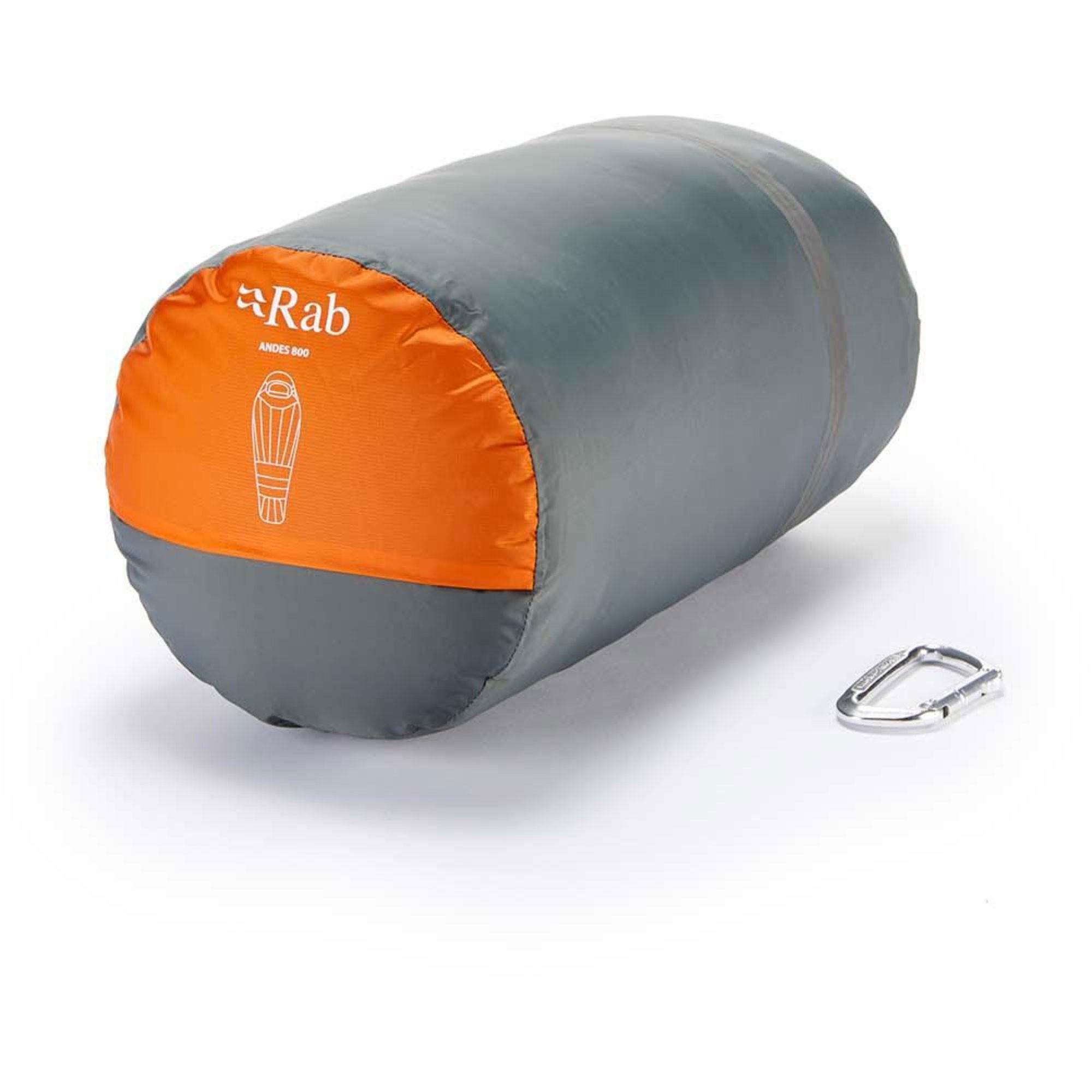 Rab Andes 800 Down Sleeping Bag Left Zip Regular - Satsuma - packed