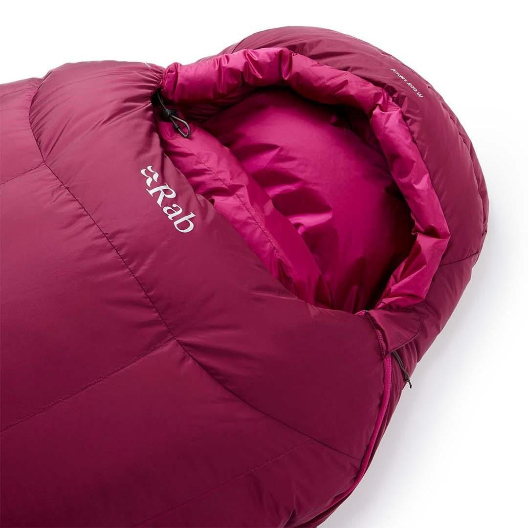 Rab Andes 800 Women's Down Sleeping Bag LZ Regular - Anenome - hood