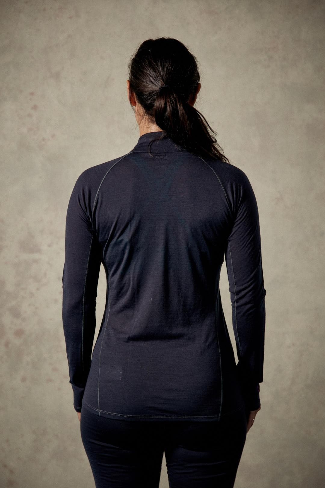 Rab Women's Merino 120 Long Sleeve Zip Tee - Ebony