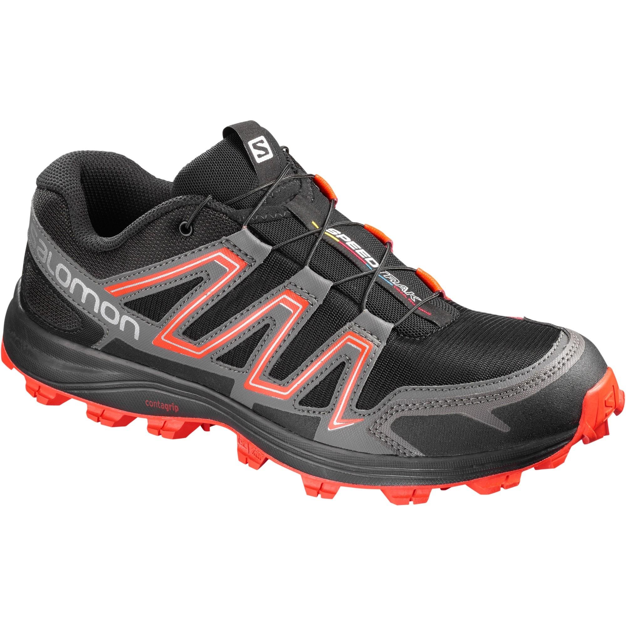 Salomon SpeedTrak Trail Running Shoe - Black/Magnet/Cherry Tomato
