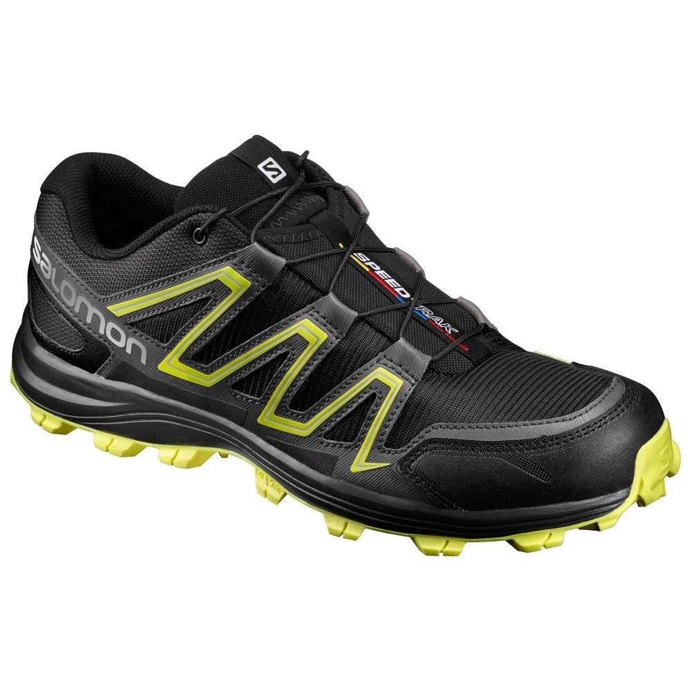 Salomon SpeedTrak Trail Running Shoe Black/Magnet/Sulphur Spring