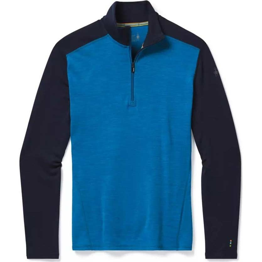 Smartwool Merino 250 Baselayer 1/4 Zip - Neptune Blue Heather/Deep Navy
